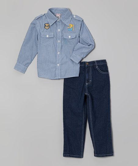Blue Stripe Embellished Button-Up & Jeans - Infant, Toddler & Boys