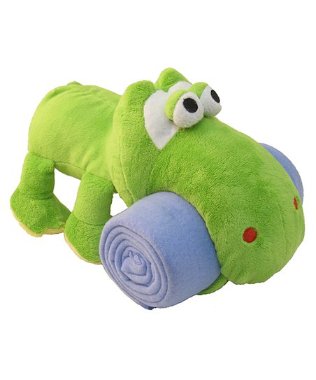 Green Frog Plush Toy & Blanket