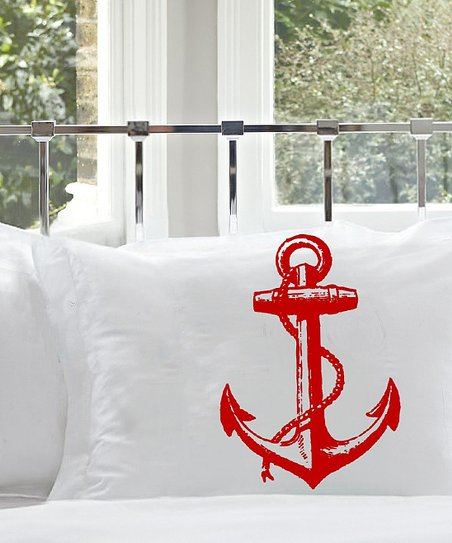 Red Anchor Standard Pillowcase - Set of Two