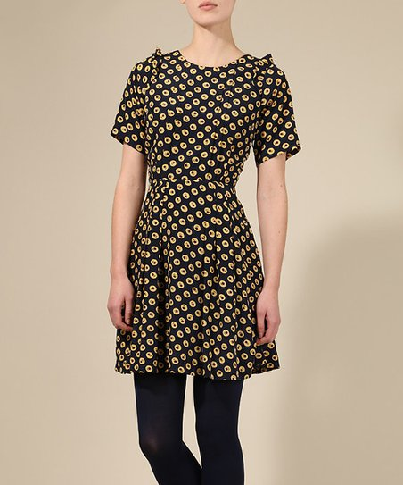 Black & Yellow Floral Beatrice Dress