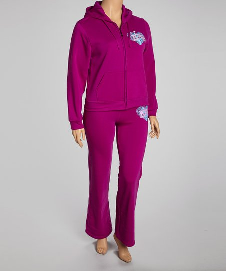 Purple 'Love' Pants & Zip-Up Hoodie - Plus