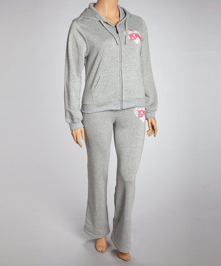 Gray 'Love' Pants & Zip-Up Hoodie - Plus