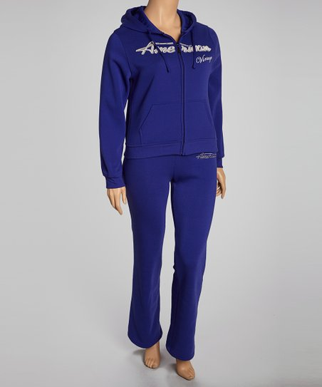 Blue 'Dream' Pants & Zip-Up Hoodie - Plus