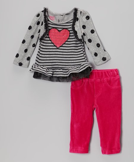 Gray Heart Layered Top & Pink Pants - Infant, Toddler & Girls