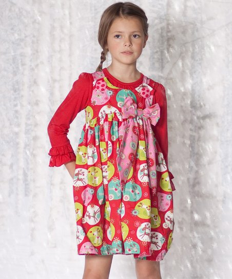 Red Jingle Jelly Puffy Dress & Top - Infant, Toddler & Girls