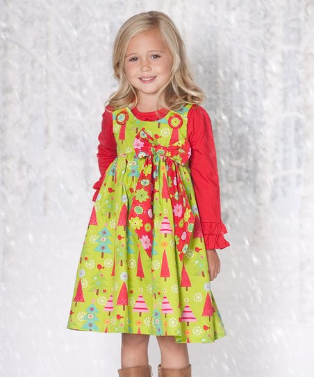 Lime Oh Christmas Tree Puffy Dress & Top - Infant & Toddler