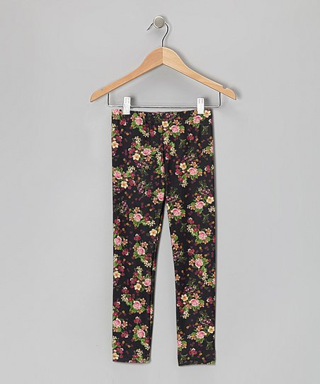 Black Floral Leggings - Toddler & Girls