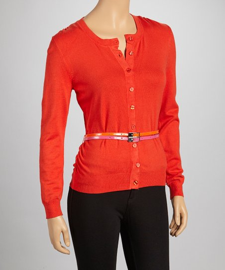 Tangerine Double Belted Cardigan