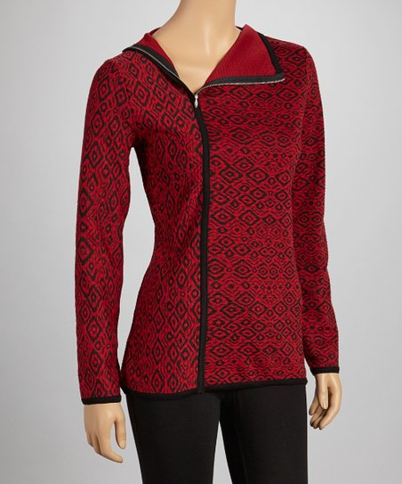 Red & Black Ikat Zip-Up Sweater
