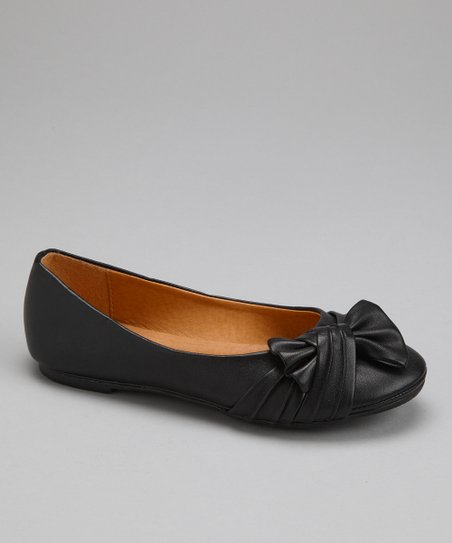 Black Ruched Bow Flat