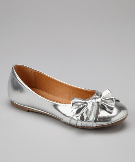 Silver Ruched Bow Flat