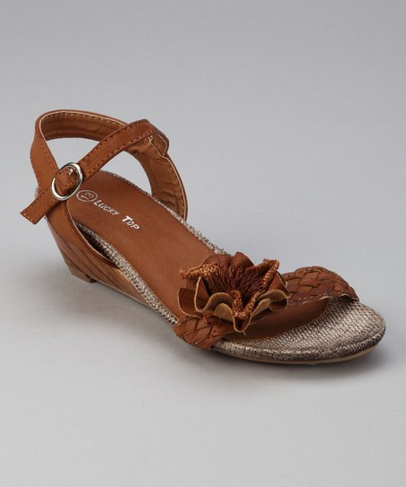 Tan Floral Wedge Sandal