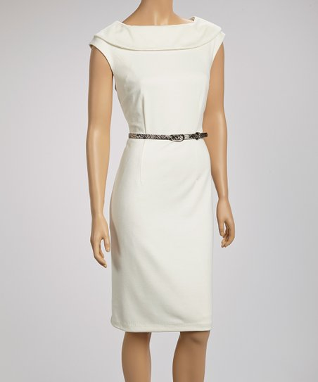Ivory Ascot Belted Sleeveless Dress