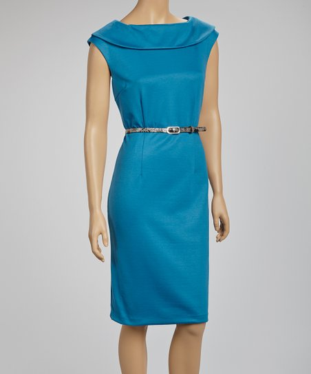 Teal Ascot Belted Sleeveless Dress