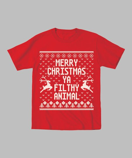 Red 'Merry Christmas Ya Filthy Animal' Tee - Toddler & Kids