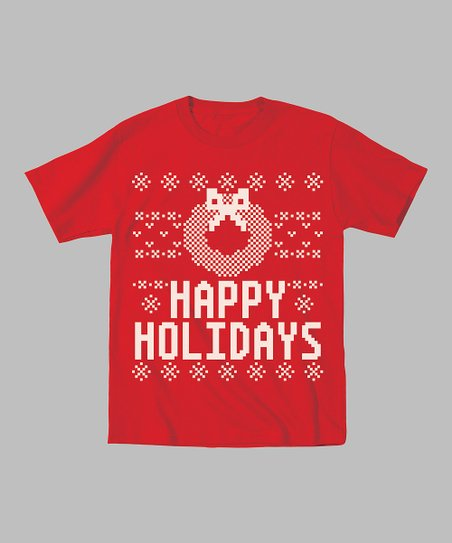 Red 'Happy Holidays' Wreath Tee - Toddler & Kids