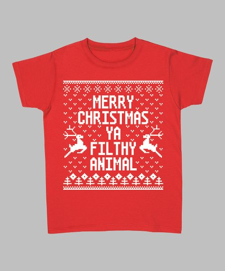 Red 'Merry Christmas Ya Filthy Animal' Tee - Women & Plus