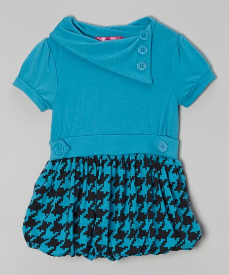 Mermaid Houndstooth Bubble Dress - Toddler & Girls