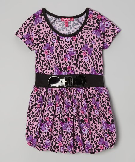 Heart Pink Cheetah & Butterfly Bubble Dress - Girls