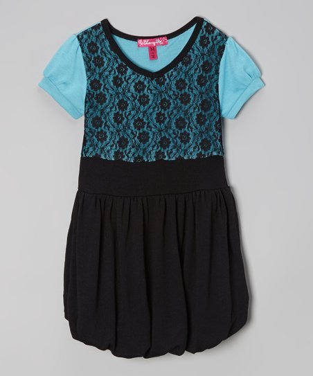 Bluebell & Black Lace Bubble Dress - Girls