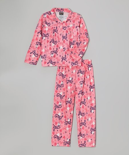 Pink 'Love' Pajama Set - Girls