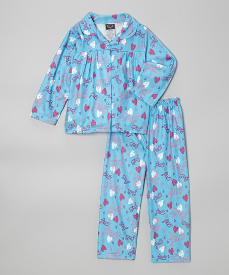 Blue 'Love' Pajama Set - Girls