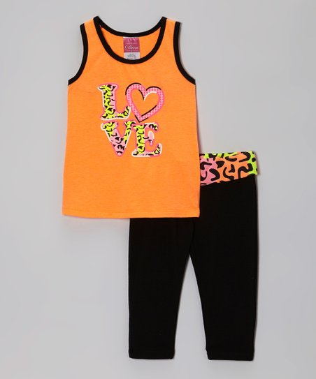 Orange 'Love' Racerback Tank & Black Yoga Pants - Toddler & Girls