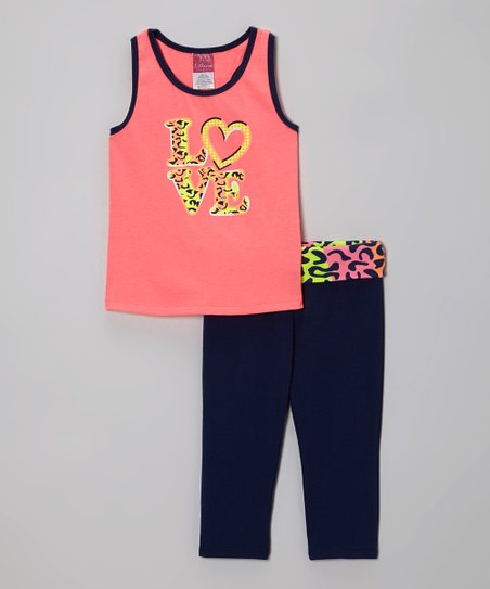Coral 'Love' Racerback Tank & Navy Yoga Pants - Girls