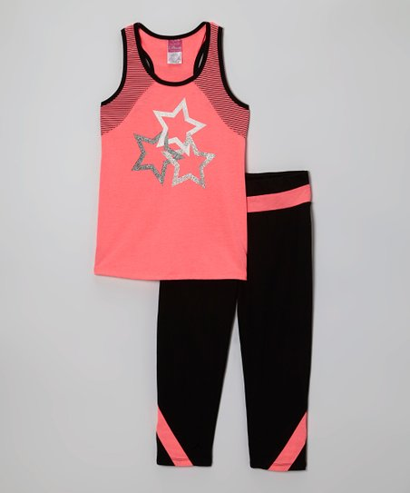 Coral Stars Racerback Tank & Black Yoga Pants - Toddler & Girls