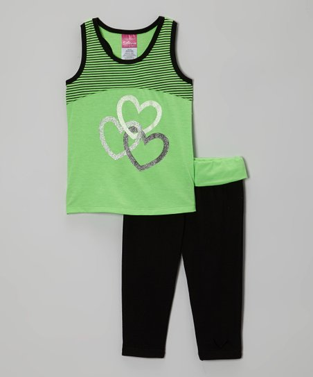 Green Hearts Racerback Tank & Black Yoga Pants - Girls