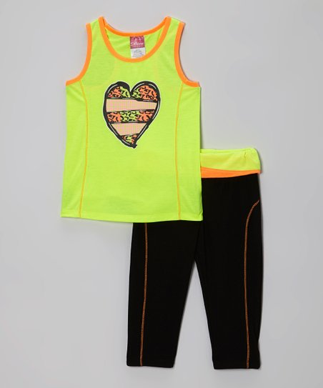 Yellow Heart Racerback Tank & Black Yoga Pants - Girls