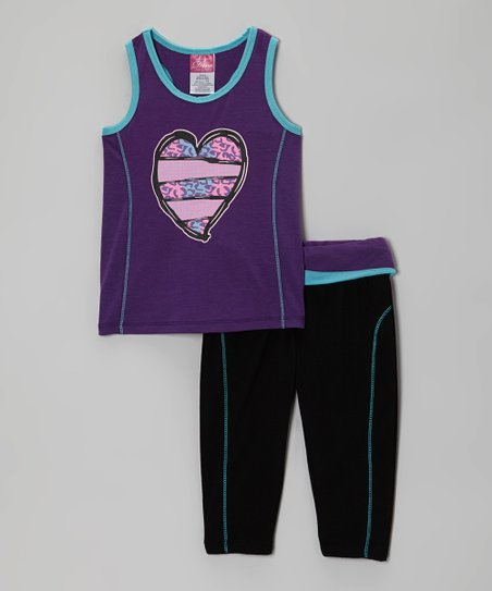 Purple Heart Racerback Tank & Black Yoga Pants - Girls