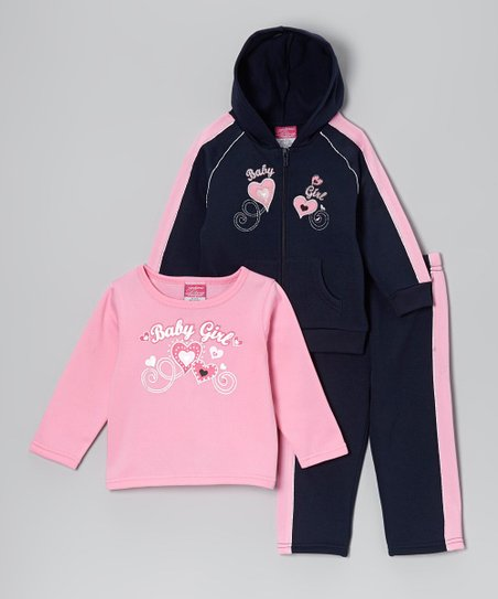 Navy & Pink 'Baby Girl' Fleece Hoodie Set - Toddler