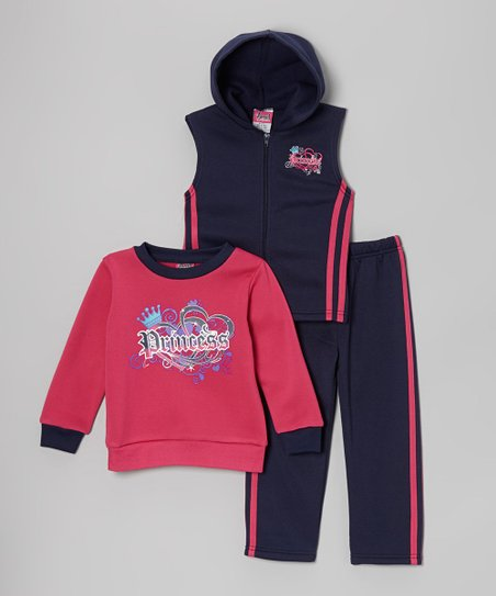 Navy 'Princess' Sleeveless Hoodie Set - Infant