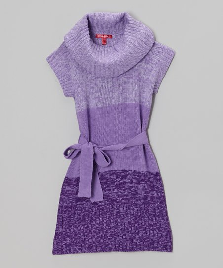 Purple Moon Cowl Neck Dress - Girls