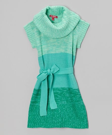 Mint Candy Cowl Neck Dress - Girls