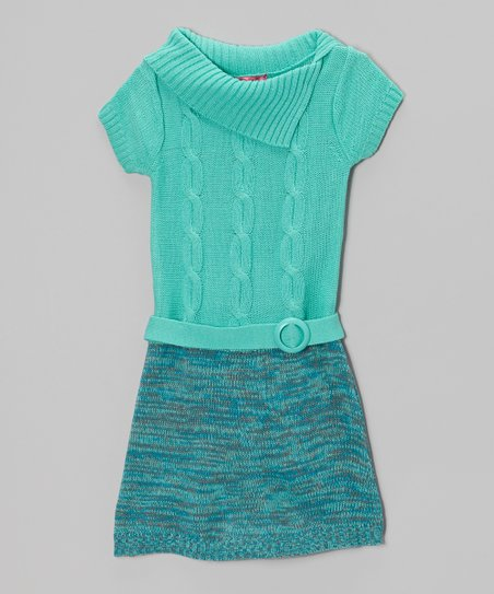 Mint Candy Split-Neck Sweater Dress - Girls