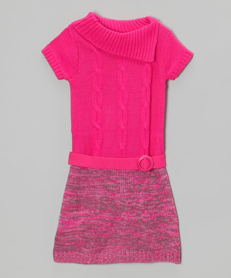 Lollipop Pink Split-Neck Sweater Dress - Girls