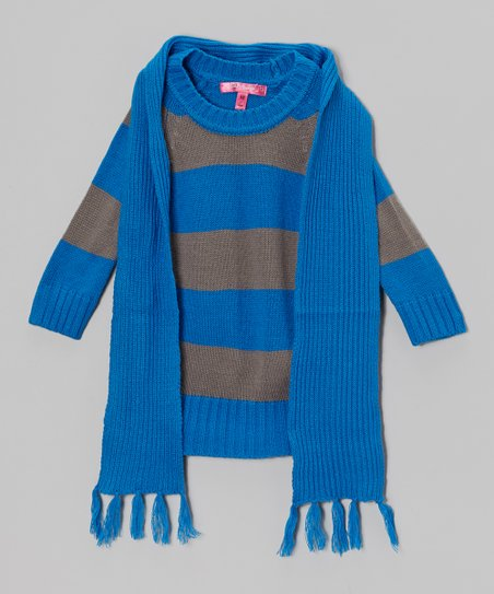 Electric Blue Stripe Sweater Dress & Scarf - Toddler & Girls