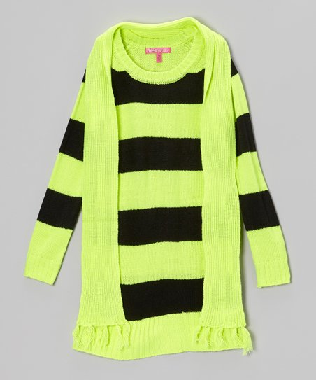 Safety Yellow Stripe Sweater Dress & Scarf - Toddler & Girls