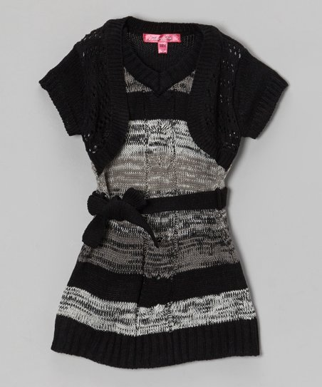 Gray & Black Layered Sweater Dress - Girls