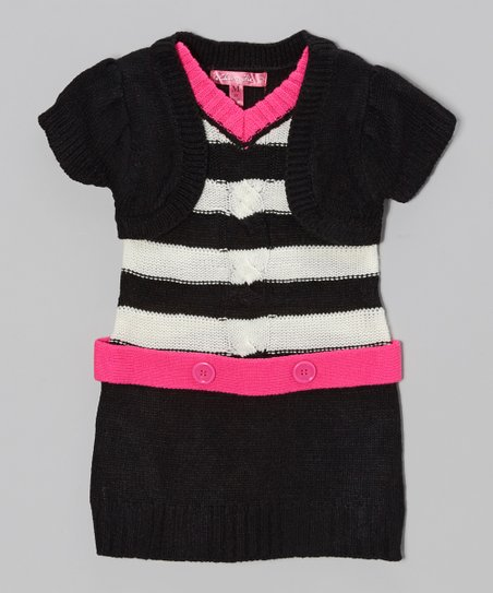 Lollipop Pink Stripe Layered Sweater Dress - Girls