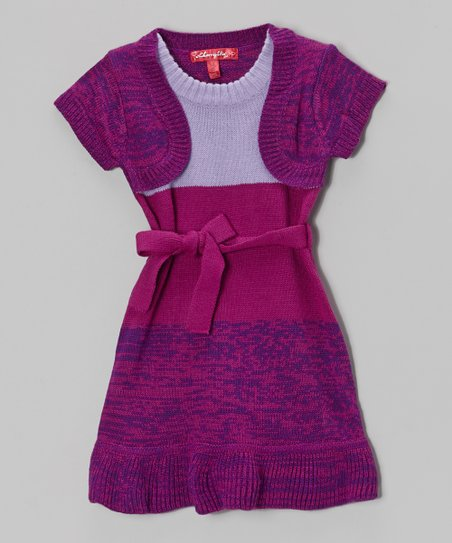 Dark Magenta Color Block Layered Dress - Girls