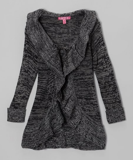 Black & Gray Ruffle Duster - Toddler & Girls