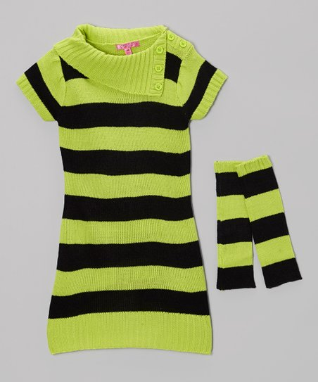 Bright Apple Stripe Sweater Dress & Arm Warmers - Girls