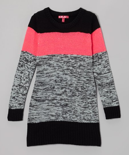 Knockout Pink & Gray Color Block Sweater Dress - Toddler & Girls