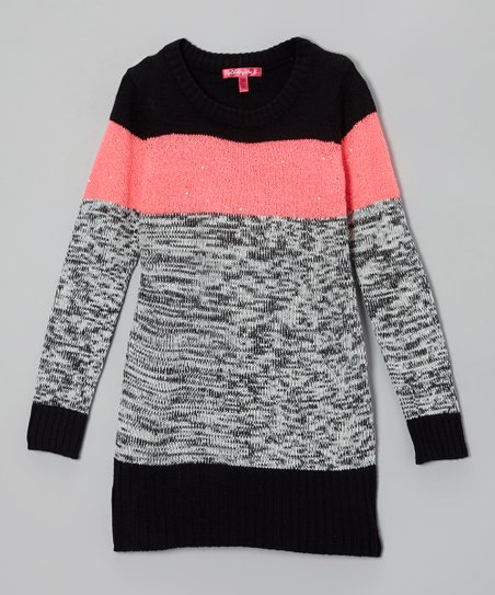 Electric Coral & Gray Color Block Sweater Dress - Toddler & Girls