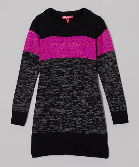 Very Berry & Gray Color Block Sweater Dress - Toddler & Girls