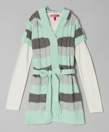 Peppermint Stripe Hooded Layered Duster - Girls
