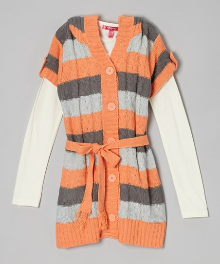 Apricot Frost Stripe Hooded Layered Duster - Girls